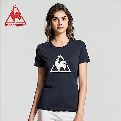 le coq sportif 法國公雞牌經典圓領LOGO印花短袖T恤 女-丈青