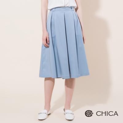 CHICA 質感簡約打摺五分寬褲裙(2色)