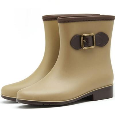 KEITH-WILL時尚鞋館 歐美時尚多功能雨鞋雨靴短靴-卡其
