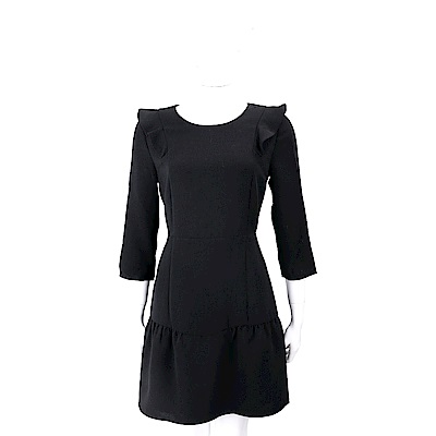 Max Mara-MAX&CO 荷葉細節拼色黑色小禮服洋裝