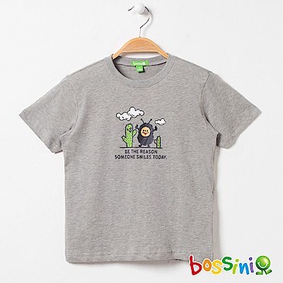 bossini男童-印花短袖T恤02淺灰