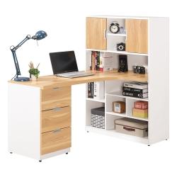 Bernice-貝爾5尺L型書櫃+書桌組合-左右向可選-150x91x139cm
