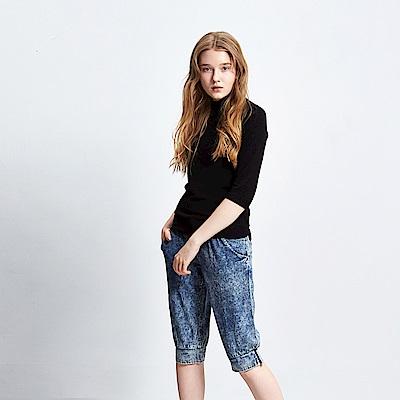 Hana+花木馬 率性刷色牛仔輕單寧造型馬褲