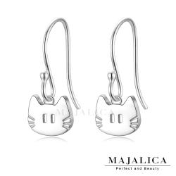 Majalica925純銀耳環可愛小貓耳鈎式女耳飾 單副價格(MIT)