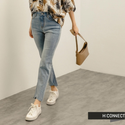 H:CONNECT 韓國品牌 女裝 -自然刷破微彈Straight牛仔褲-淺藍色