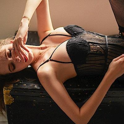 情趣睡衣 性感深V蕾絲馬甲 EM衣柔魅姬-黑色