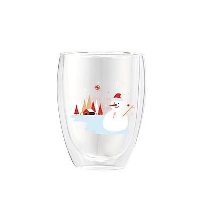 FUSHIMA富島 聖誕限定-Joy樂摯雙層耐熱玻璃杯雪人款350ML