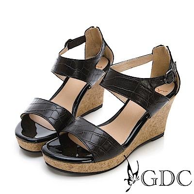 GDC-真皮辣妹款增高楔型底台素面設計後包涼鞋-黑色