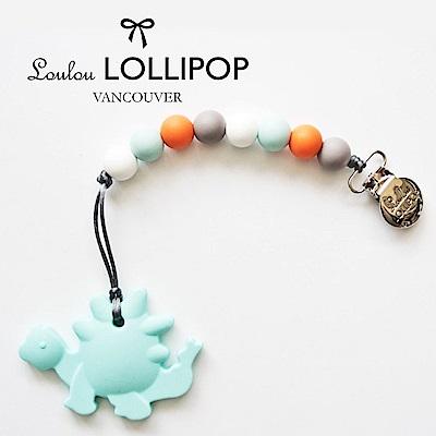 加拿大Loulou lollipop加拿大 嬰幼兒造型 固齒器組/奶嘴鍊夾-藍恐龍