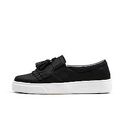 【AIRKOREA韓國空運】質感流蘇皮革材質樂福鞋休閒鞋-黑