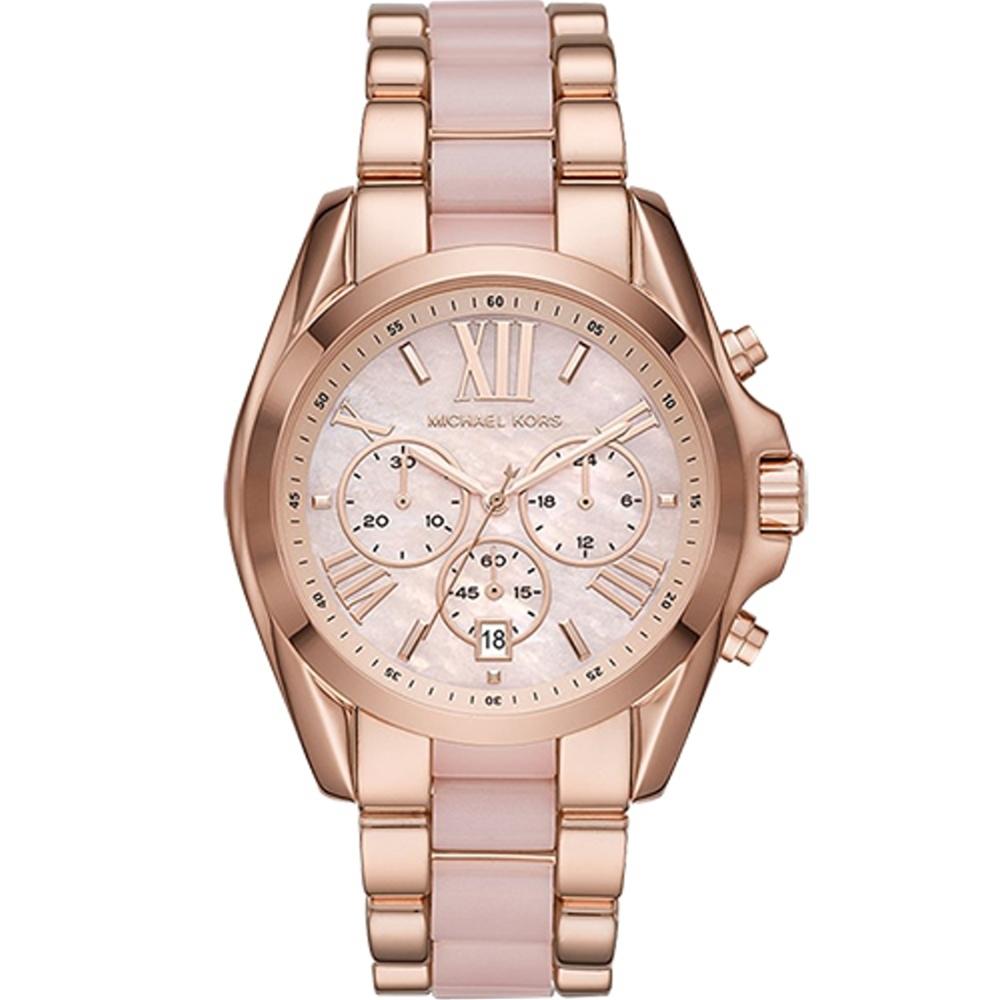 Michael Kors MK BRADSHAW 質感珍珠粉計時腕錶(MK6830)43mm