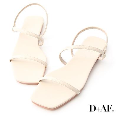 D+AF 清爽自在.復古方頭一字平底涼鞋*米白