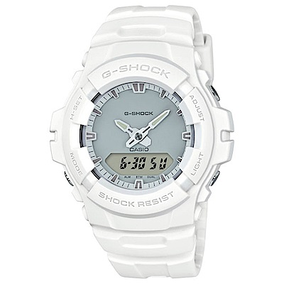 G-SHOCK 簡約時尚霧面雙顯運動錶(G-100CU-7A)-白/47.8mm