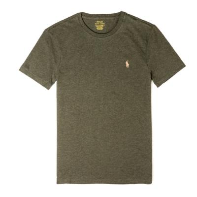 Polo Ralph Lauren 經典刺繡駝色小馬圓領素面短袖T恤-墨綠色