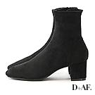 D+AF 完美主義.素面車線中跟襪靴*黑絨