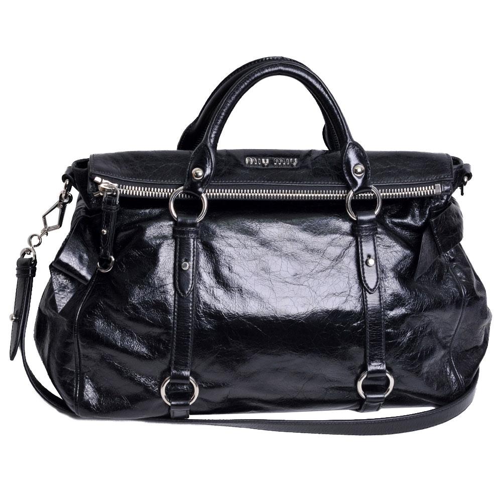MIU MIU VITELLO LUX系列 品牌LOGO牛皮蝴蝶結手提/斜背包(黑)