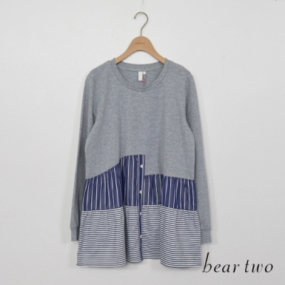 beartwo-三段拼接傘狀造型上衣-深灰