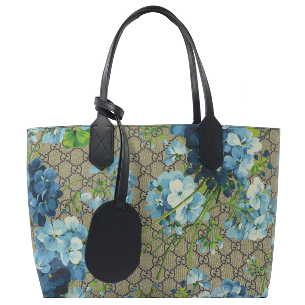GUCCI BLOOMS系列花朵PVC雙面托特包(藍)