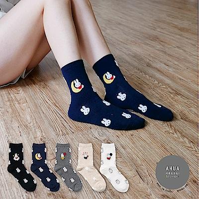阿華有事嗎 韓國襪子滿版立體米菲兔中筒襪 韓妞必備卡通襪 正韓百搭純棉襪