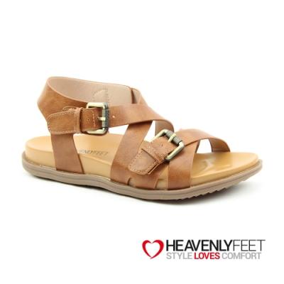 【HEAVENLY FEET】英國舒適品牌復古皮感羅馬涼鞋-APOLLO