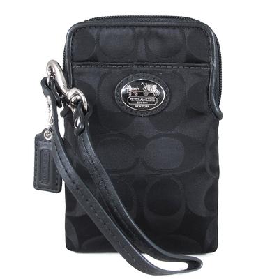 COACH 馬車橢圓標Logo緹花織布直立式萬用小物/化妝包(黑色)