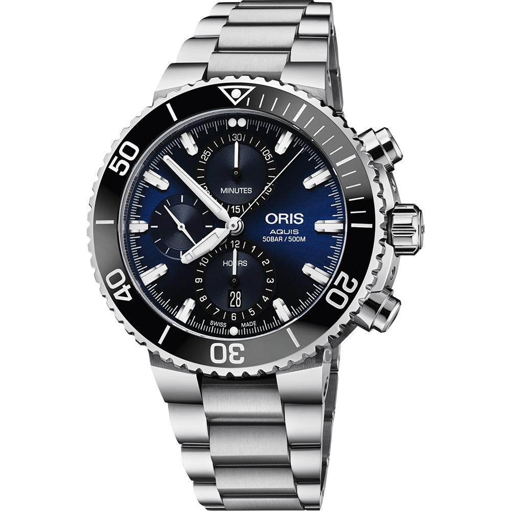 (無卡分期24期)Oris豪利時 Aquis 500米潛水計時機械錶-藍x銀/45.5mm