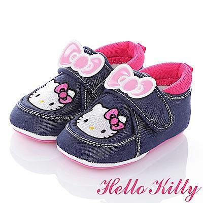 HelloKitty 牛仔布系列 舒適減壓保護腳腕防滑學步童鞋-藍