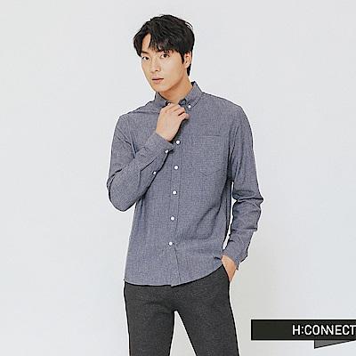 H:CONNECT 韓國品牌 男裝-格紋單口袋襯衫-藍