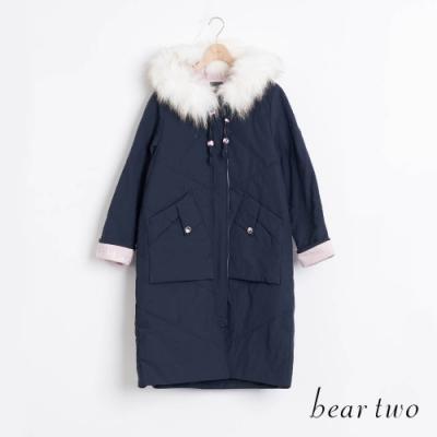 bear two- 浪漫白毛領長外套 - 藍