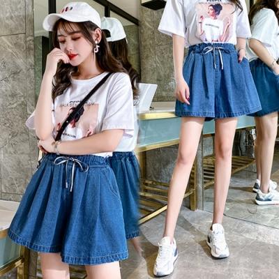 【韓國K.W.】(預購)韓時尚典雅牛仔短褲裙-1色