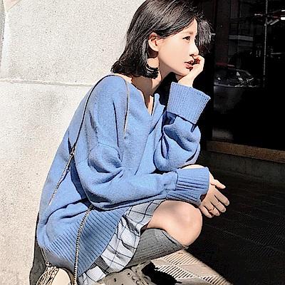 出清La Belleza素色小V領羅紋拼接袖可反折包心紗針織長版毛衣(情人節送禮)