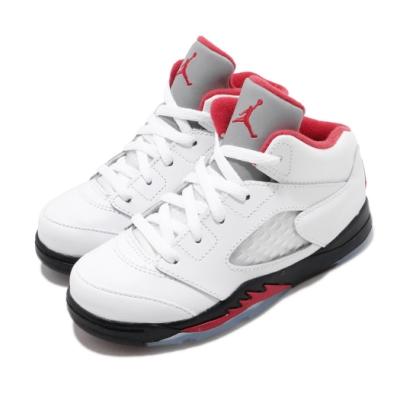 Nike 籃球鞋 Air Jordan 5 Retro 童鞋 經典款 喬丹五代 流川楓 復刻 小童 白 紅 440890102