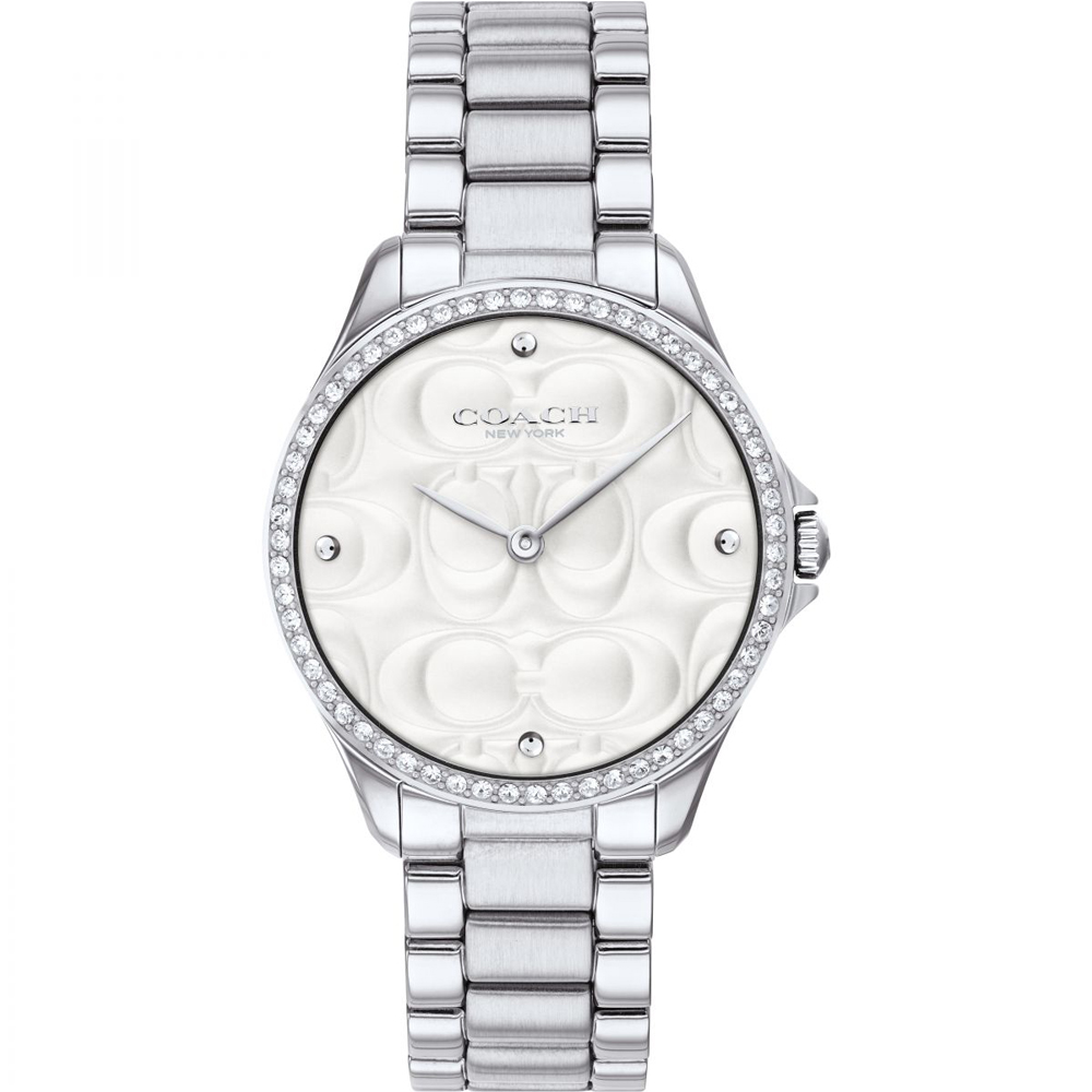COACH 雙C浮雕 閃耀晶鑽女錶(14503070)-銀38mm