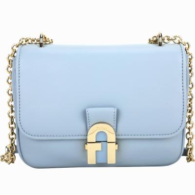 FURLA Pillow 金屬釦納帕羊皮掀蓋鍊帶斜背包(天藍色)