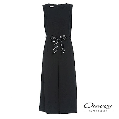 OUWEY歐薇 條紋綁帶造型連身褲裝(黑)