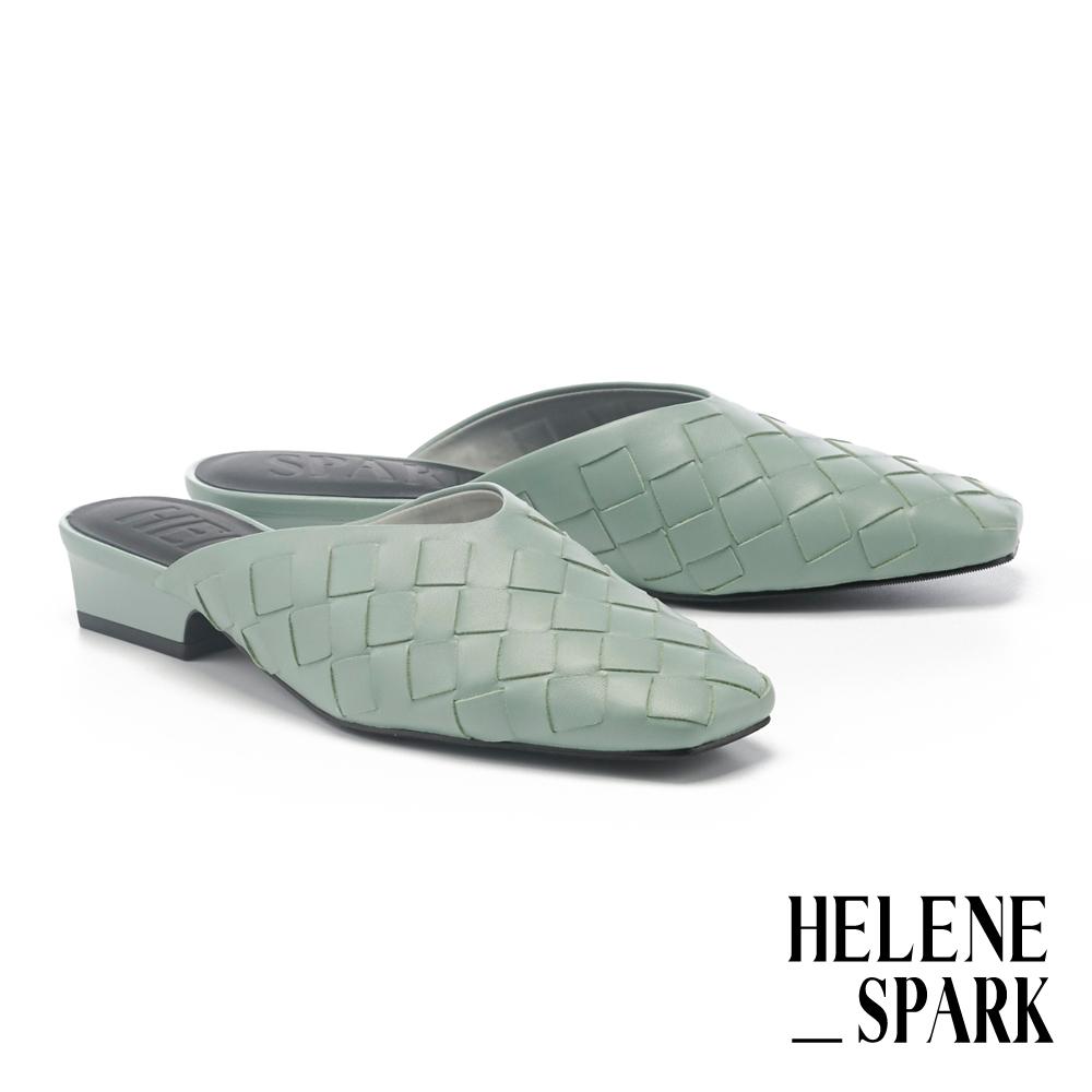 穆勒鞋 HELENE SPARK 自然量感編織羊皮方頭低跟穆勒拖鞋-綠