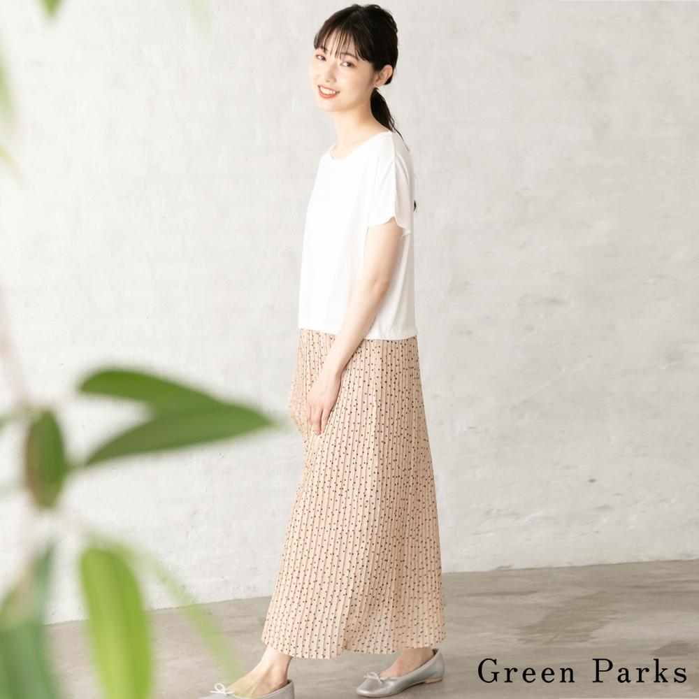Green Parks 素面圓點拼接百褶連身裙
