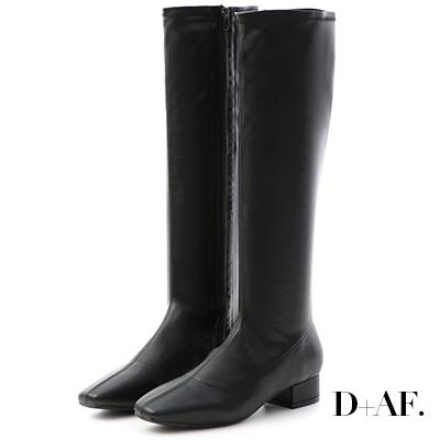 D+AF 人氣百搭.素面顯瘦感合腿長靴*黑