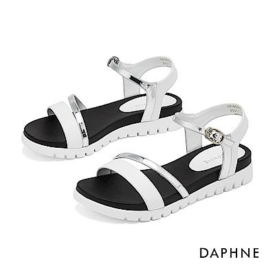 達芙妮DAPHNE 涼鞋-撞色鏤空一字帶休閒涼鞋-白色