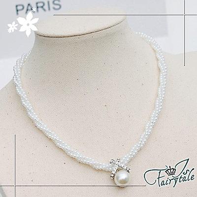iSFairytale伊飾童話 麻花珍珠 浪漫交叉造型珍珠項鍊
