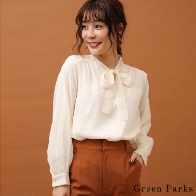 Green Parks 優雅蝴蝶領結點點薄紗設計上衣