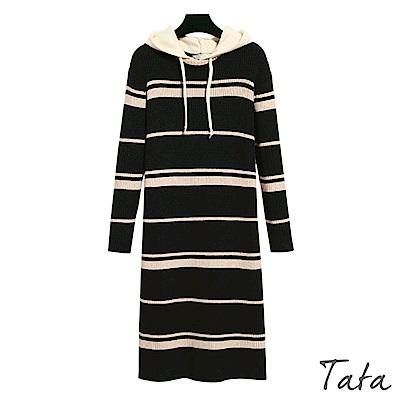 條紋連帽針織洋裝 TATA