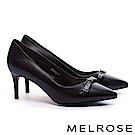 高跟鞋 MELROSE 經典 Logo 蝴蝶結素面牛皮尖頭高跟鞋-黑