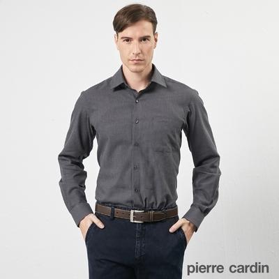 pierre cardin 皮爾卡登 男襯衫  進口素材素面暗紋純棉保暖長袖襯衫_深灰色(72801-98)
