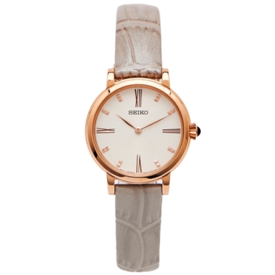 SEIKO 優雅玩美風的皮革手錶(SFQ812P1)-米黃色面/30mm