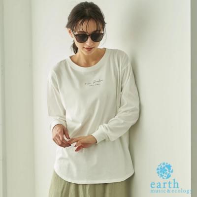 earth music 純棉標語打印圓領落肩長袖T恤