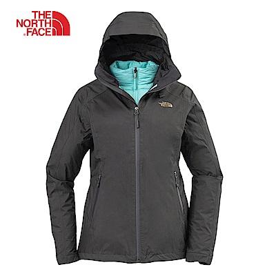 The North Face北面女款灰色防水透氣三合一外套|3KTP7LP