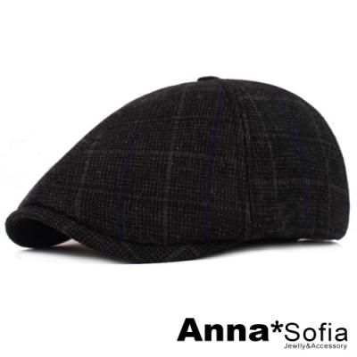 【滿688打75折】AnnaSofia 格紋藍線帶 毛呢鴨舌帽小偷帽(黑系)