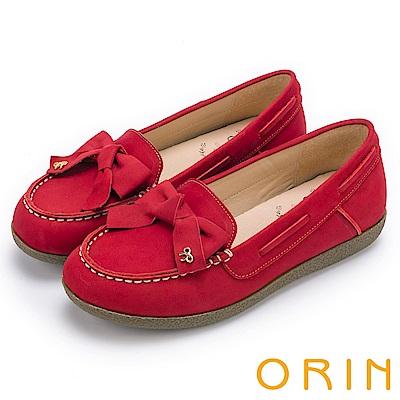 ORIN 經典復古時尚 真皮手縫蝴蝶結平底鞋-紅色