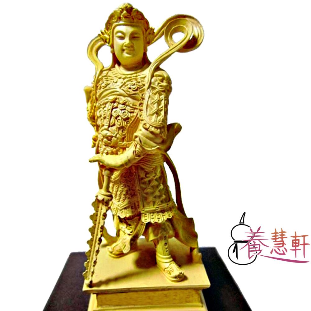 養慧軒 金剛砂陶土精雕佛像 韋駝護法(木色)(高12.5公分)